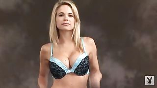 Blonde goddess takes off her clothes in front of camera