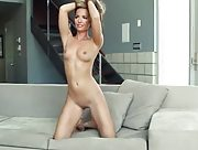 So sexy lady likes to pose naked on the couch