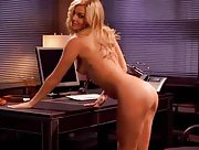 Perfect blonde honey gets naked in her office