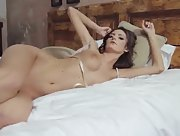 Come in the bed of this pretty brunette girl