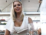 On the coffee with sexy blonde hottie