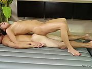 Handsome man and Asian girl in oiled massage