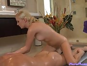 Nice blowjob and body massage by cute blonde