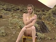 Sexy naked blonde on lonely place