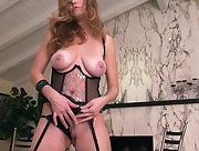 Gorgeous busty babe Jamie Lynn plays in thigh sexy stockings