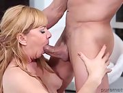 Delightful perky blonde Sasha Sean pounded on the bed