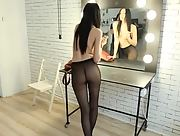 Beautiful Amy Light strips her tight pantyhose and displays all her attributes for the fans