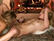 Passionate lesbian love making in front of the fireplace with gorgeous babes Kiara Diane and Nicole Aniston