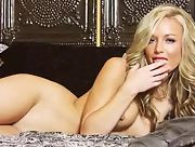Blonde goddess on high heels Kayden Kross is all alone with her toy in the bedroom