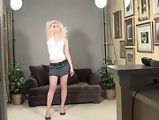 Sexy blonde in high heels Yulia teases and poses erotically
