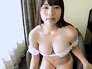 Adorable natural Asian cutie Jun Serizawa teases in her bed