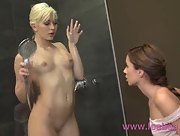 Two amazing hot babes take a shower together