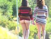 Dazzling brunette beauties Athena and Mindy take everything off outdoors