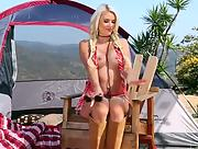 Breathtaking Gigi Allens goes camping all by her self