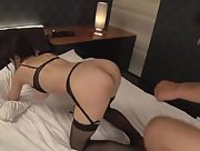Outstanding curvy Asian Yui Satonaka pounded in the bedroom