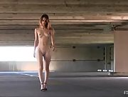 Wonderful blonde Belicia strips and teases in an underground garage