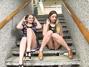 Wonderful lesbian babes Nicole and Veronica get naughty in public