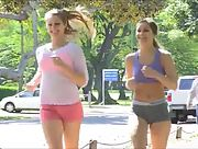 Sexy lesbians Nicole and Veronica go for a run together