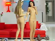 Sexy and seductive Angel B and Pamela strip and tease together