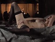 Seductive beauty in tight stockings Jayme Langford masturbates in the bedroom