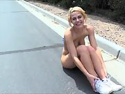 Blonde beauty Kenna takes a break from her run to masturbate