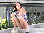 Lana drops her panties and takes a pee outdoors