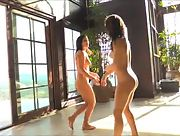 Nude and sexy Fiona and Brook have some fun by the pool