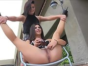 Adorable lesbian lovers Fiona and Brook always play with toys together