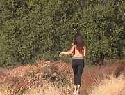 Curvy Chloe gets completely naked after a short run in the wild