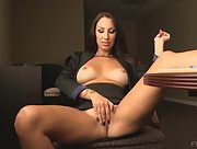 Irresistible busty brunette Chloe plays with her tight pussy in the office