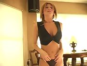 Lisa D shoots a game of pool in tight and sexy high heels