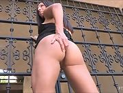 Fantastic busty milf Zoey lifts up her skirt and shows off her stunning attributes