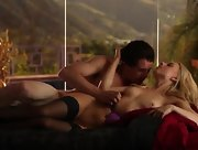 Sexy blonde in black stockings craves for his hard rod