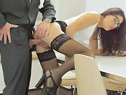 Ravishing secretary Carolina Abril has sex with her boss