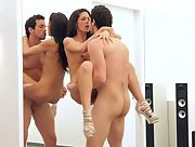 Young latina brunette in high heals is naked