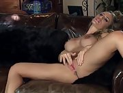 Nicole Aniston strips and masturbates in blue high heels