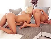 Horny lesbian Lena Love is too horny as she takes on her Jenny Simons in hot and sensuous sex session