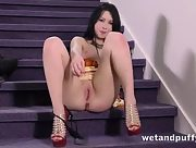 Gorgeous Luna Ore gets kinky as she strip teases and masturbates her sweet holes with her favorite toys on the stairs