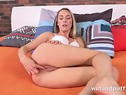 Horny Foxies uses her fingers to tempt her pussy before moving on to a purple dildo to get herself off