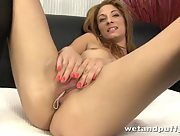 Billa gets damn horny as she rubs her sweet pink muff with a vibrator