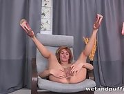 Busty Esperanse pulls down her panties as she stretches her wet pussy with a metal speculum