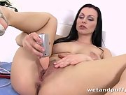 Deneria knows how to get herself off as she puts on a great solo show with her plastic lovers