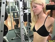 Charlotte Stokely and Malena Morgan have a romantic workout at the gym