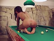 Amazing stunner with an amazing body Lily C does a seductive striping on the pool table