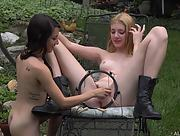 Two young babes Freya Von Doom and Lena Anderson are having fun outside