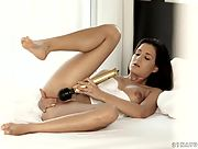 Cindy Loarn uses her big golden toy before she goes to sleep