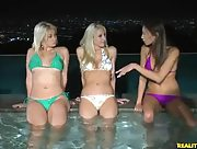 Relaxing in the pool with Sarah Vandella Celeste Star and Sammie Rhodes