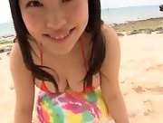 Gorgeous Aya Umeda puts on a sexy show on the beach