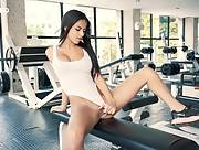Fantastic dark haired babe Denisse Gomez gets nude in the gym and displays her hot curves