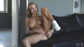 Horny busty brunette Nancy A  plays with her tight juicy pussy after striping slowly